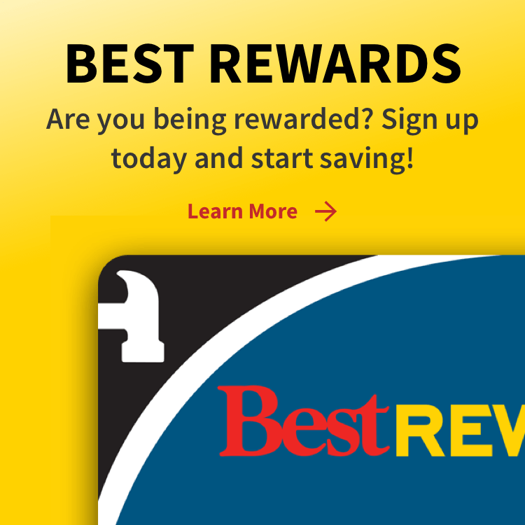 """""""Best Rewards - Are you being rewarded? Sign up today and start saving!"""" with best rewards card"""