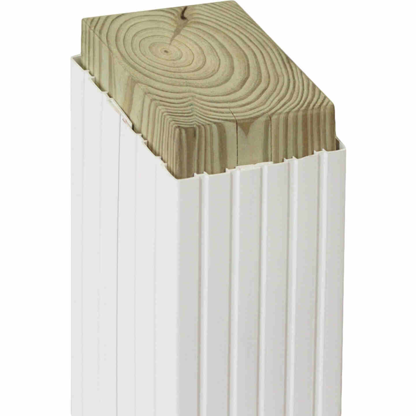 Beechdale 4 In. W. x 4 In. H. x 102 In. L. White PVC Fluted Post Wrap Image 1