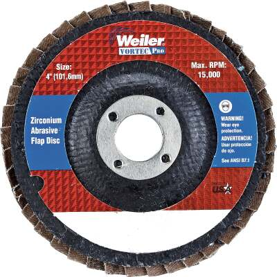 Weiler Vortec 4 In. x 5/8 In. 36-Grit Type 29 Angle Grinder Flap Disc