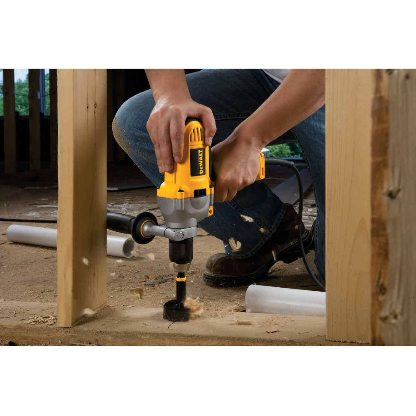 DeWalt 1/2 In. 10-Amp Keyless Electric Drill with Mid-Handle Grip Image 3