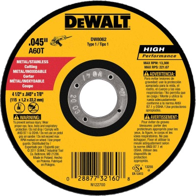 DeWalt HP Type 1 4-1/2 In. x 0.045 In. x 7/8 In. Metal/Stainless Cut-Off Wheel (5-Pack)